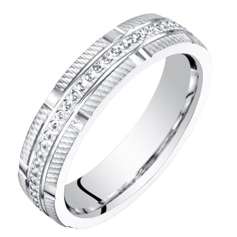 Womens 14 Karat White Gold 4mm Textured Wedding Ring Band