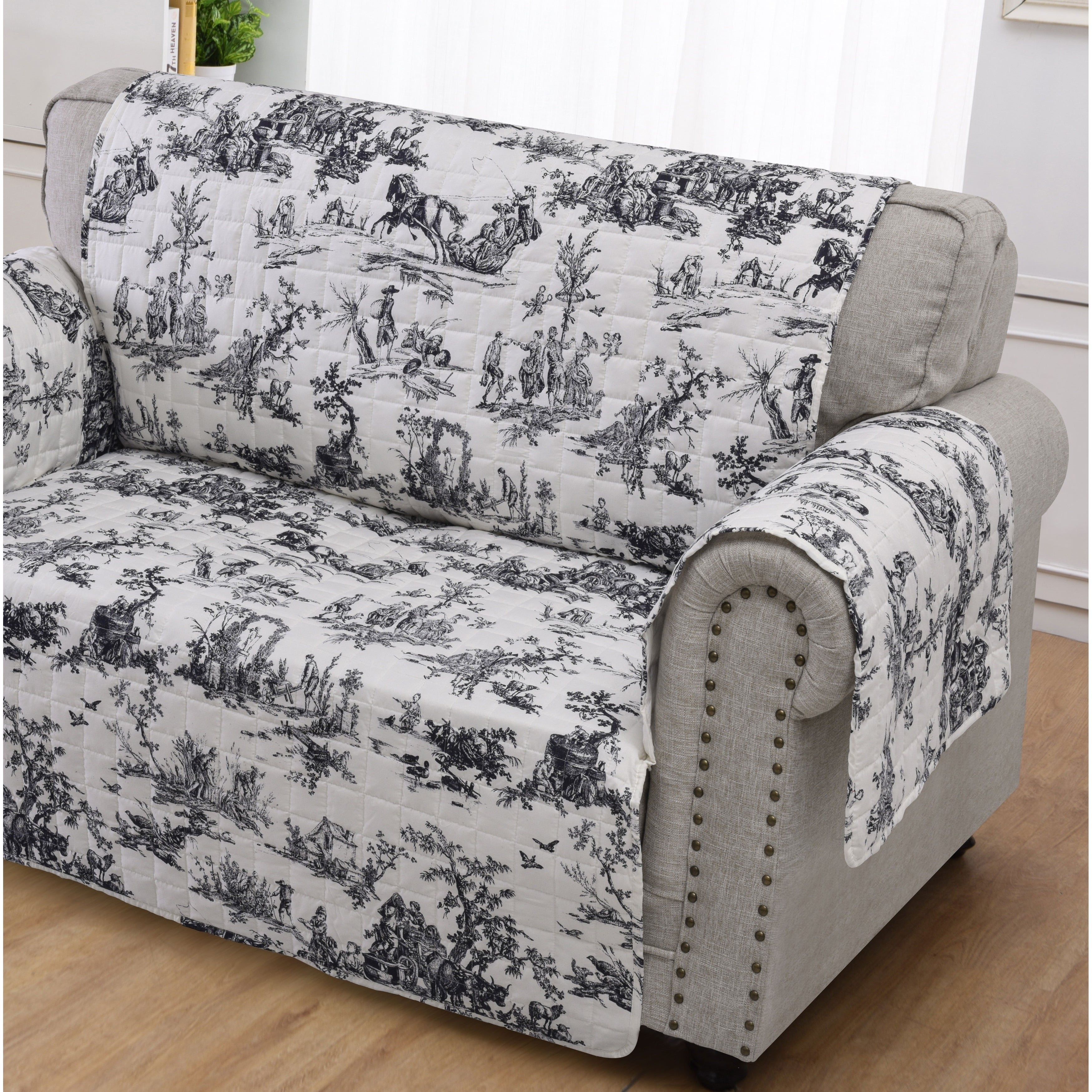 Swell Greenland Home Classic Toile Black Loveseat Protector Caraccident5 Cool Chair Designs And Ideas Caraccident5Info