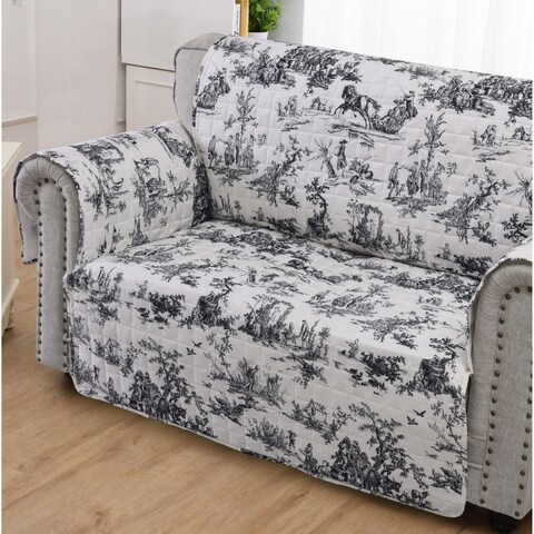 Greenland Home Classic Toile Black Loveseat Protector