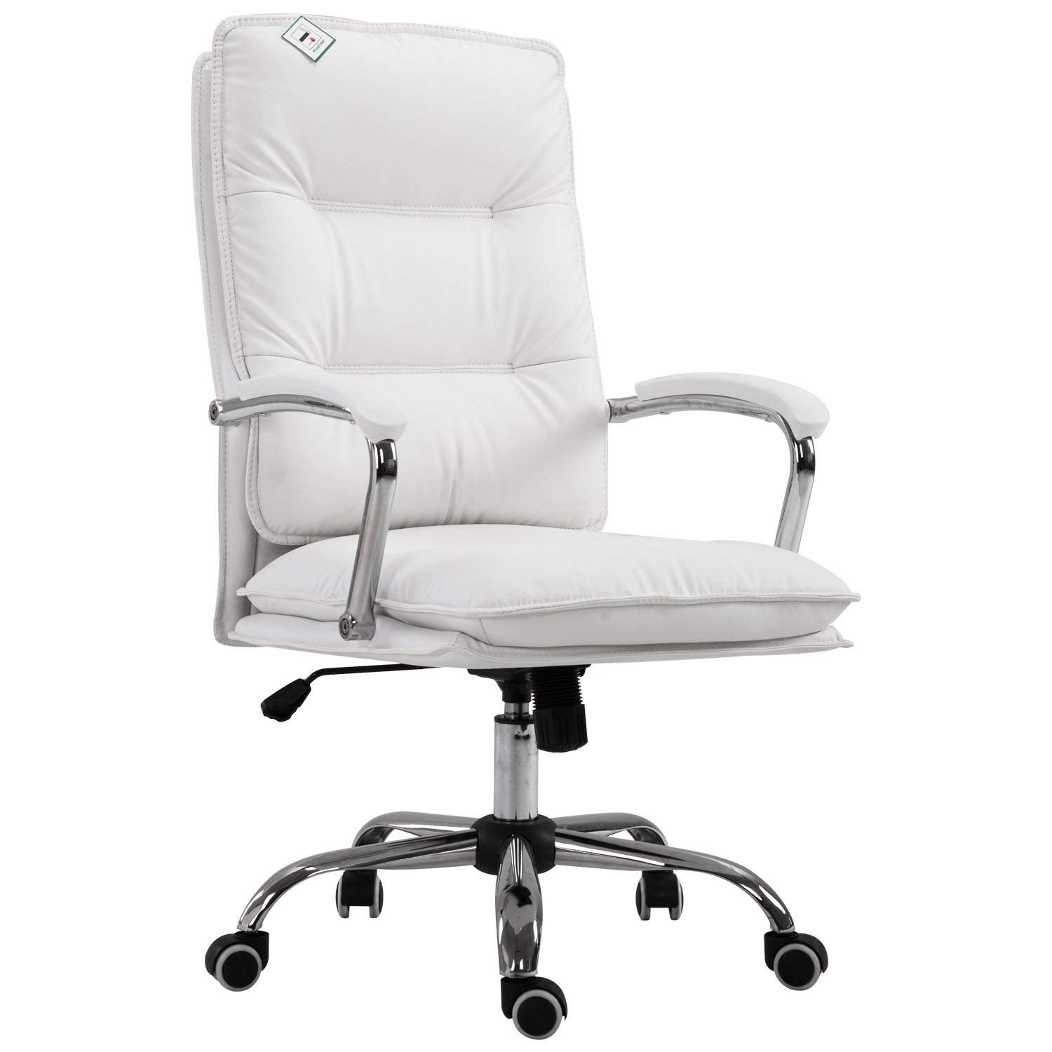 Shop Homcom High Back Pu Leather Executive Home Office Chair With Lumbar Support White Overstock 23051325