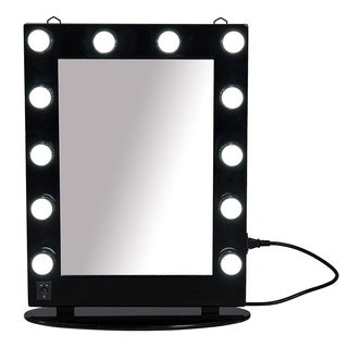 "HomCom 26"" Illuminated Hollywood Style Vanity Mirror With 12 Dimming LED Frosted Lights - Black"