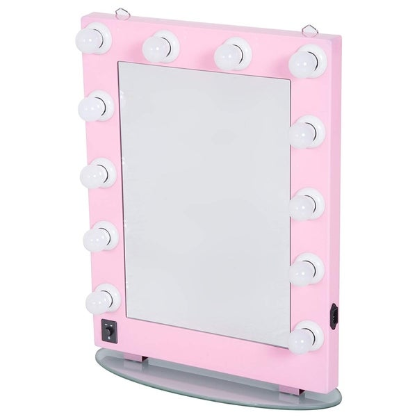 """HomCom 26"""" Illuminated Hollywood Style Vanity Mirror With 12 Dimming LED Frosted Lights - Pink - light pink"""
