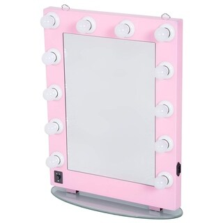 "HomCom 26"" Illuminated Hollywood Style Vanity Mirror With 12 Dimming LED Frosted Lights - Pink - light pink"