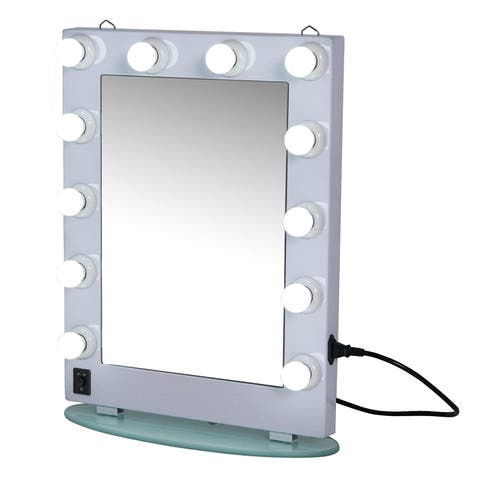 "HomCom 26"" Illuminated Hollywood Style Vanity Mirror With 12 Dimming LED Frosted Lights - White - 19.5"" L x 8"" W x 26"" H"