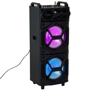 "HomCom 37"" 80 Watt Portable LED Wireless Bluetooth Compatible Dual Speaker Stereo With Wheels"