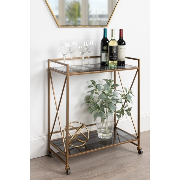 Kate and Laurel Blex 2-Shelf Glass and Metal Rolling Bar Cart