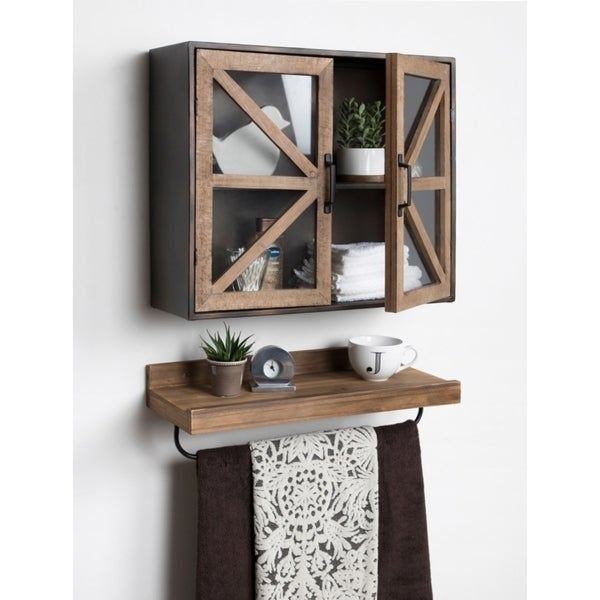 Kate And Laurel Mace Wall Mounted Rustic Wood And Metal 2 Door Cabinet    24x8x20
