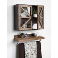 Kate and Laurel Mace Black Wood and Metal Wall Mounted Rustic 2-door Cabinet