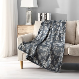 Asher Home Falling Leaves Plush Throw Blanket
