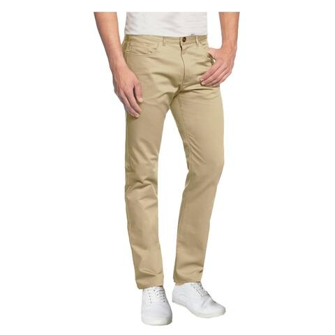 Galaxy by Harvic Men's 5-Pocket Cotton Stretch Washed Flat Front Chino Pants