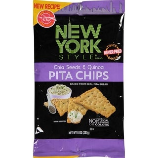 New York Style Pita Chips, Chia & Quinoa, 8 Ounce (Pack of 12)