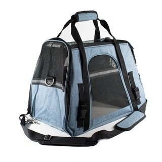 ALEKO Portable Pet Travel Shoulder Carrier Bag Blue and Black