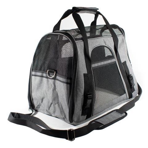 ALEKO Portable Pet Travel Shoulder Gray and Black Carrier Bag