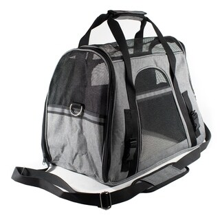 ALEKO Portable Pet Travel Shoulder Gray and Black Carrier Bag