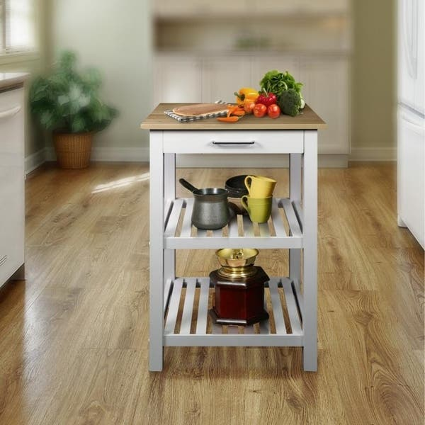 Shop Sunrise Kitchen Island with Solid Maple Top - Free ...