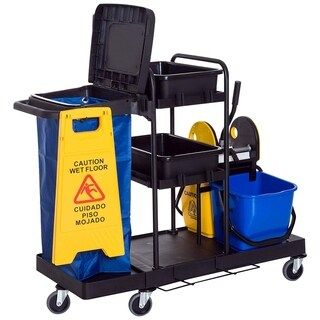 HomCom 3 Shelf All- In- One Rolling Sanitary Housekeeping Kit And Accessories Janitorial Cleaning Cart