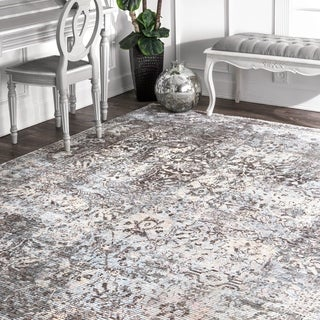 nuLOOM Gray Traditional Vintage Lila Abstract Fading Flux Border Area Rug - 4' x 6'
