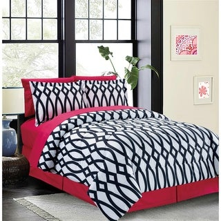 Bed In A Bag/8pcs-250GSMF-PVISC/PR-Dbl/Full-Pink-Iron Gate-MHC