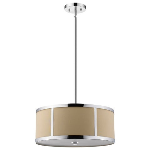 Trend by Acclaim Lighting Butler Chrome/Tan Steel/Linen Convertible Pendant Light