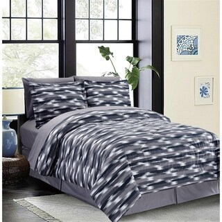 Bed In A Bag/8pcs-250GSMF-PVISC/PR-Dbl/Full-White/Grey/Black-Aztec Stripe-MHC
