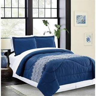 Bed In A Bag/6pcs-250GSMF-PVISC/PR-Twin-White/Navy-Diamond Dance-MHC