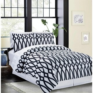 Bed In A Bag/8pcs-250GSMF-PVISC/PR-Queen-Blk & Wht-Iron Gate-MHC