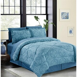 Bed In A Bag/8pcs-250GSMF-PVISC/PR-King-Blue-Bohemian Damask-MHC
