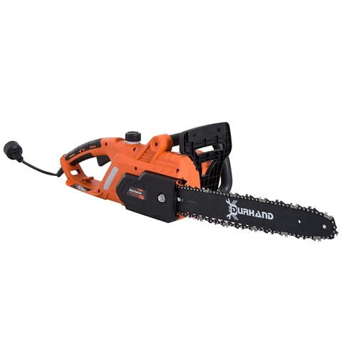 "Durhand 16"" 13-Amp 120V Lightweight Adjustable Corded Electric Chainsaw - Orange - Black"