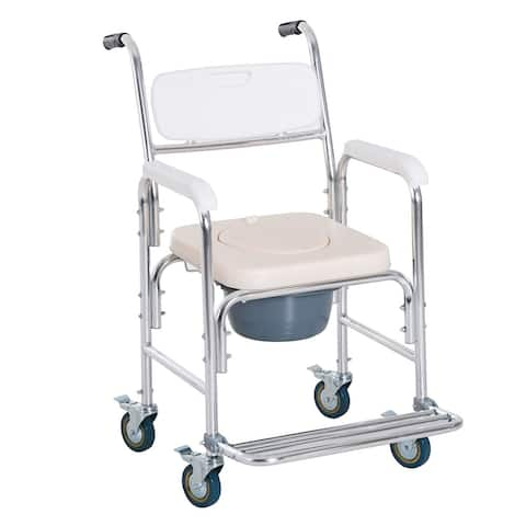 Personal Mobility Durable Waterproof Shower Accessible Transport Commode Medical Rolling Chair