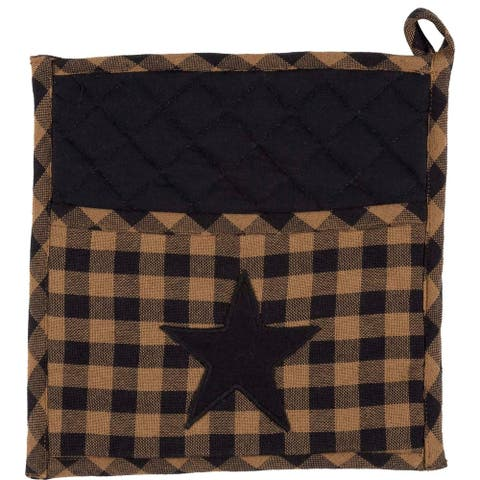 Blue Primitive Tabletop Kitchen VHC Navy Star Pot Holder Fabric Loop Cotton Star Appliqued - 9x9