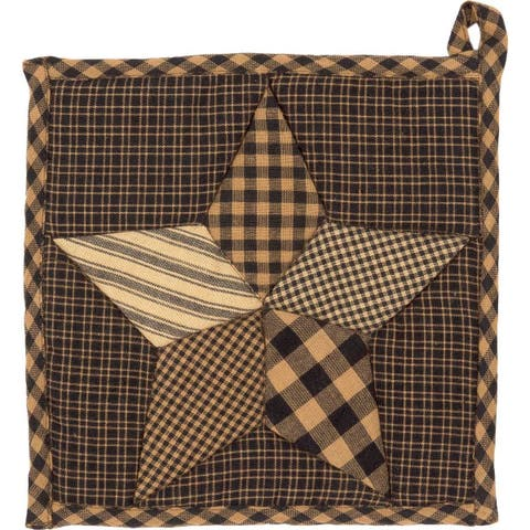 Black Primitive Tabletop Kitchen VHC Farmhouse Star Pot Holder Fabric Loop Cotton Star Patchwork - Pot Holder