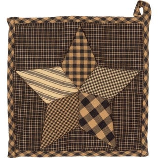 VHC Farmhouse Star Charcoal Black Primitive Classic Country Tabletop & Kitchen Pot Holder