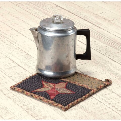 VHC Arlington Navy Blue Classic Country Americana Tabletop & Kitchen Patchwork Star Pot Holder with Pocket