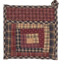 VHC Millsboro Burgundy Red Rustic & Lodge Tabletop & Kitchen Patch Pot Holder with Pocket