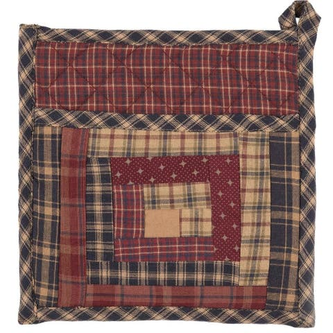 Red Rustic Tabletop Kitchen VHC Millsboro Pot Holder Fabric Loop Cotton Patchwork Pocket - 8x8