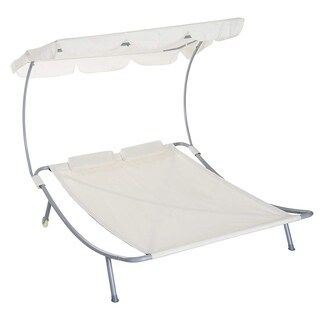 Outsunny 2 Person Sturdy Moveable Sun Protection Chaise Lounge Hammock Sunbed With Canopy And Stand - Cream White
