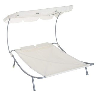 Outsunny 2 Person Sturdy Moveable Sun Protection Chaise Lounge Hammock Sunbed With Canopy And Stand  Cream White