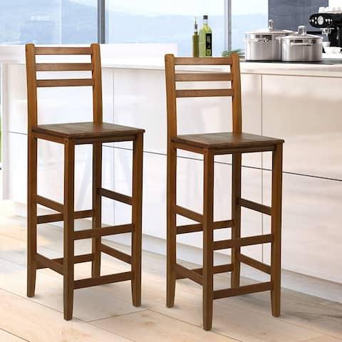 "2 Piece 28"" Tall Classic Bar Height Acacia Wood Slat Back Pub Chair"