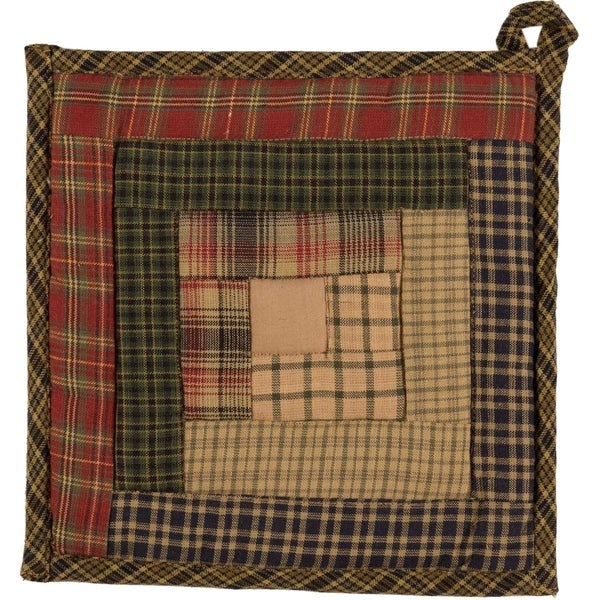 VHC Tea Cabin Moss Green Rustic & Lodge Tabletop & Kitchen Patchwork Pot Holder