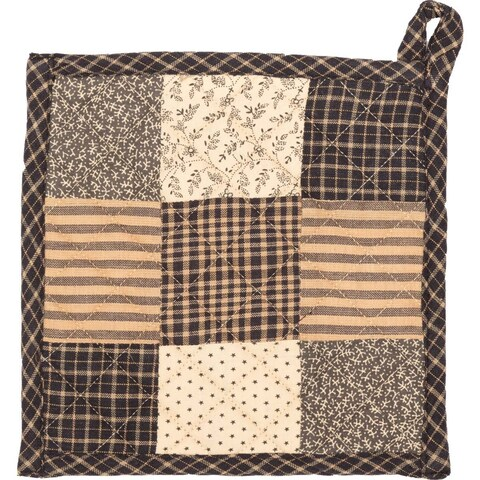 VHC Kettle Grove Country Black Primitive Classic Tabletop & Kitchen Patchwork Pot Holder
