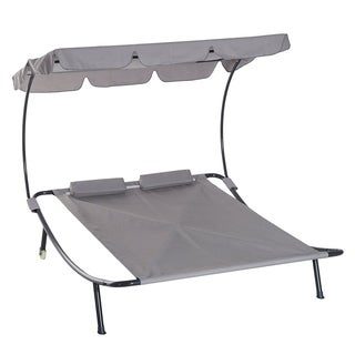 Outsunny 2 Person Sturdy Moveable Sun Protection Chaise Lounge Hammock Sunbed With Canopy And Stand  Light Grey