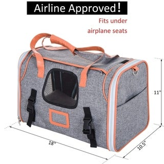 "PawHut 18"" Small Soft Sided Airline Approved Pet Tote Bag Travel Carrier for Cats and Dogs - Grey"