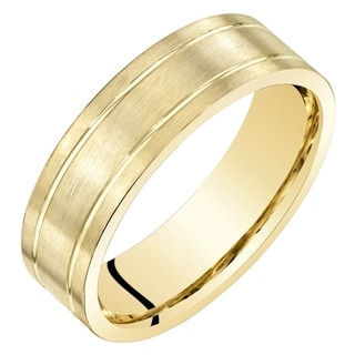 Mens 14 Karat Yellow Gold Wedding Band Matte Comfort Fit Sizes 8 to 14