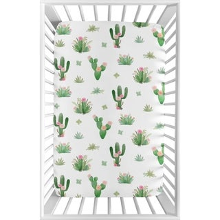 Sweet Jojo Designs Pink and Green Boho Watercolor Cactus Floral Collection Fitted Mini Portable Crib Sheet