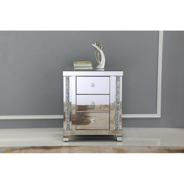 Mirrored Crystal Bedside Table