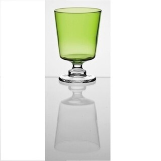 Majestic Gifts High Quality Glass Water / Wine Goblet-Green-9 oz-Set/2-Made in Europe