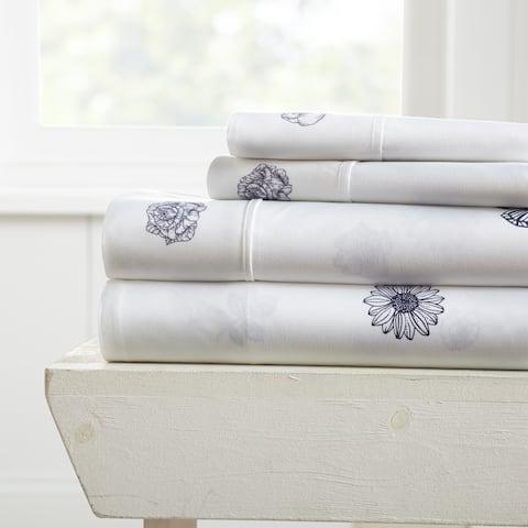 Merit Linens Premium Ultra Soft Indigo Flowers Pattern 4 Piece Bed Sheet Set