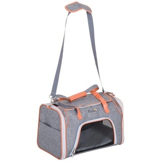 "PawHut 17"" Small Soft Sided Airline Approved Pet Tote Bag Travel Carrier for Cats and Dogs - Grey"