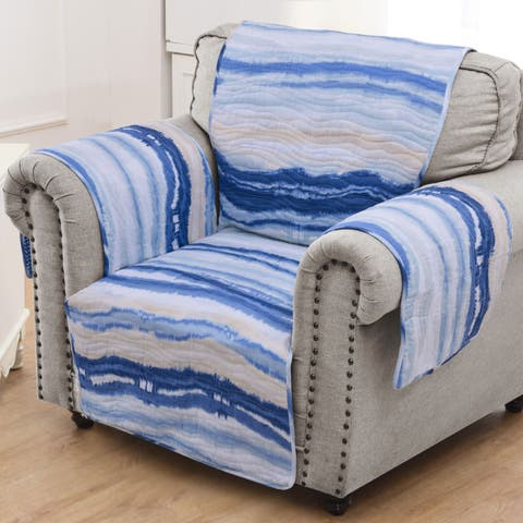 Barefoot Bungalow Crystal Cove Blue Armchair Protector