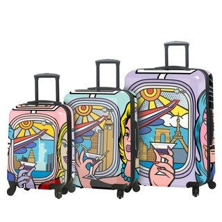 Mia Toro ITALY Jozza Airplane 3 Piece Hardside Spinner Set